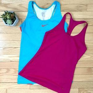 Nike Tank Ladies Dri-Fit Bundle (2) Blue & Red Med